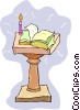 Vector Clipart image  of a bible on a podium