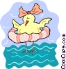 Vector Clipart image  of a cartoon bird with water toy