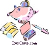 piggy bank, gold bars and check book Vector Clip Art picture