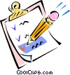 Vector Clipart picture  of a pencil and clipboard