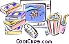 Rental movies with popcorn and drink Vector Clipart graphic
