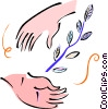 Vector Clipart picture  of a hands with a branch