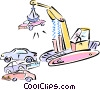 magnetic crane with car in the junk yard Vector Clip Art image
