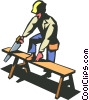 construction worker sawing a piece of wood Vector Clip Art graphic