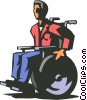 Vector Clipart graphic  of a disabled man in wheelchair