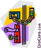 Vector Clipart graphic  of a door handle with locks