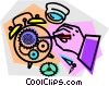 Vector Clipart graphic  of an alarm clock repair