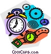 Vector Clip Art image  of an alarm clock and wristwatches