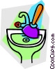 plunger in the sink Vector Clipart illustration