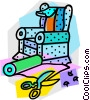 Vector Clip Art image  of a re upholstering a chair