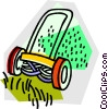 Vector Clip Art image  of a push mower