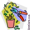 pruning a potted plant Vector Clipart image