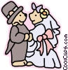 Vector Clip Art picture  of a Bride and groom bears