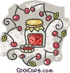 Vector Clip Art graphic  of a jar of cherry jam