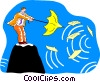 Vector Clip Art picture  of a on top of a mountain with an umbrella
