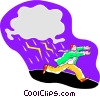 man caught in a lightning storm Vector Clip Art graphic