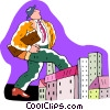 businessman walking through the city Vector Clipart illustration