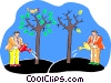 Vector Clipart graphic  of a two men watering trees