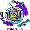 television with satellites Vector Clipart graphic