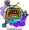 Vector Clip Art graphic  of a radio with satellites