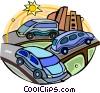 Vector Clipart image  of a cars on a highway with traffic