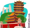 Vector Clip Art graphic  of a Chinese temple on hillside