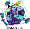 Vector Clipart graphic  of a television camera with