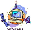 television with satellites Vector Clipart illustration