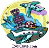 Vector Clip Art graphic  of an Air Traffic Control