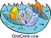Vector Clip Art image  of a fishermen with fishing nets