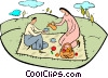Vector Clip Art image  of a couple picnicking in the park