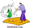 man playing music and little girl dancing Vector Clipart illustration
