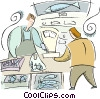 Vector Clip Art image  of a fish market
