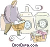 Vector Clipart illustration  of a person doing the laundry