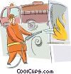 Vector Clip Art picture  of a firefighter with fire engine