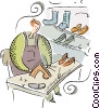 Vector Clipart image  of a shoe repair