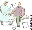 Vector Clip Art graphic  of a nurse helping a man with a
