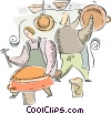 men making pots for cooking Vector Clip Art picture
