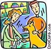 veterinarian helping a dog Vector Clipart picture