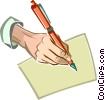 Vector Clip Art image  of a hand holding a pen