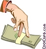 Vector Clip Art image  of a hand with a stack of money