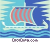 Vector Clip Art image  of a Viking ship