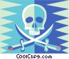 Vector Clipart graphic  of a skull and swords