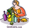 Woman with groceries Vector Clipart illustration
