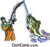 Fisherman catching a fish Vector Clipart picture