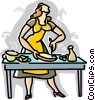 Vector Clip Art picture  of a woman preparing sandwiches