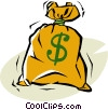 Vector Clipart image  of a bag of money