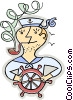 Vector Clipart graphic  of a sailor with a pipe standing at