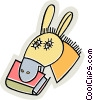 Vector Clip Art picture  of a donkey with a book in its