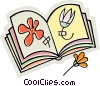 Vector Clipart illustration  of a scrapbook with pressed flowers